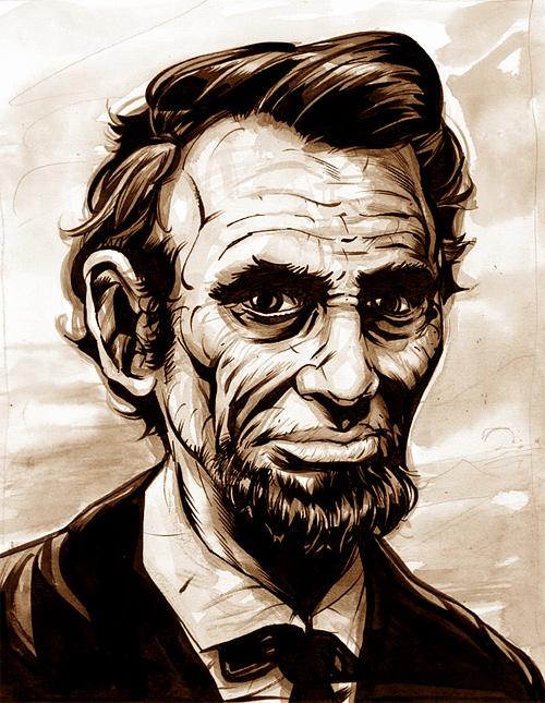 Sketch portrait abraham lincoln artwork illustration