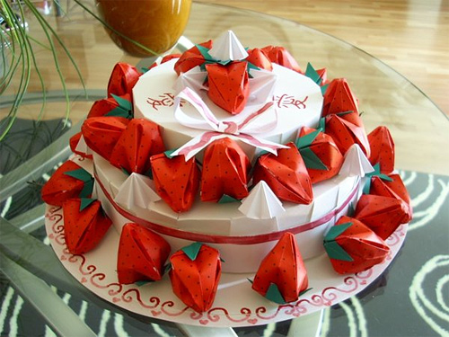 Strawberry cake origami artwork paper design