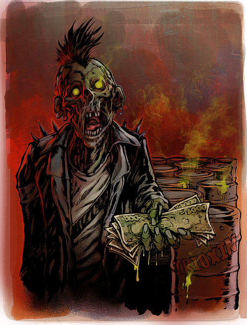 Punk rocker zombie halloween artwork illustration