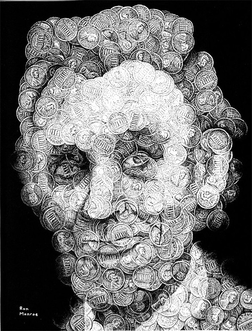 Abstract coin penny abraham lincoln artwork illustration