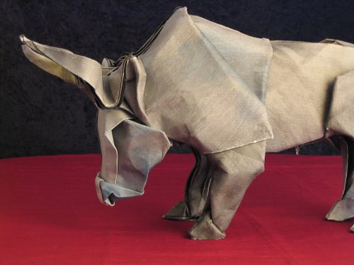 Bull animal origami artwork paper design