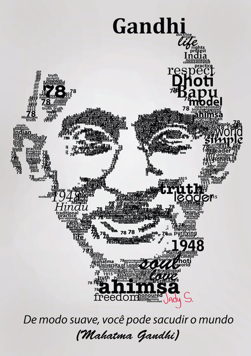 gandhi artwork picture illustration typography