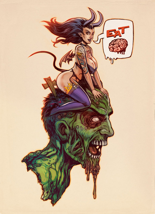 Succubus zombie halloween artwork illustration