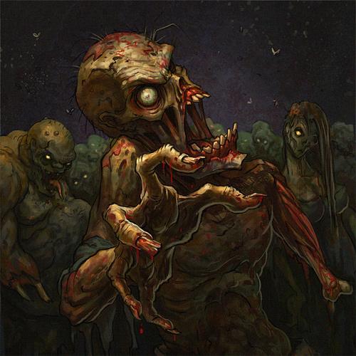 Creepy zombie halloween artwork illustration