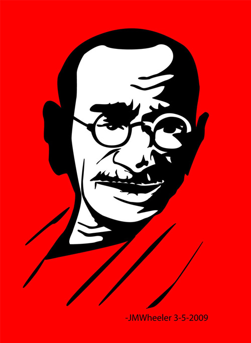 gandhi artwork picture illustration che style red