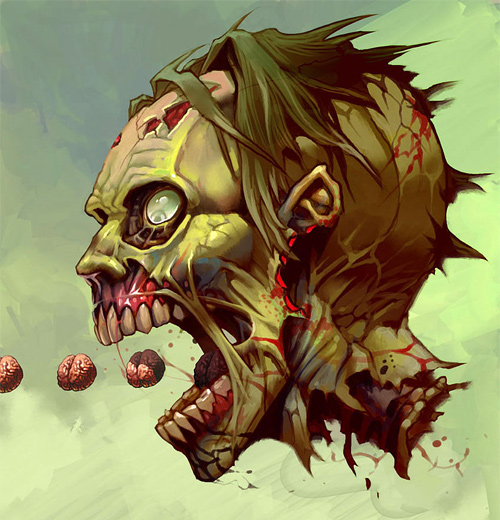 Pac zombie brain zombie halloween artwork illustration
