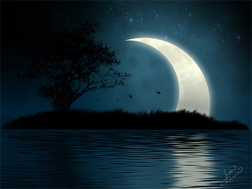 Digital tree island crescent cool moon wallpaper
