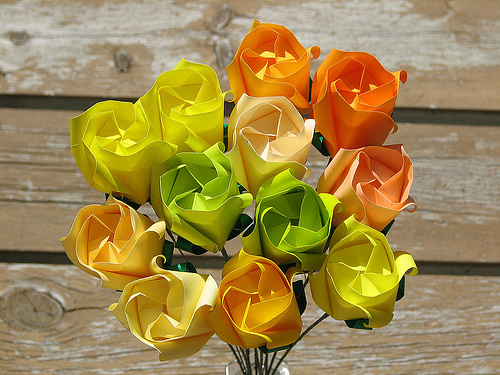 Flower roses boquet origami artwork paper design