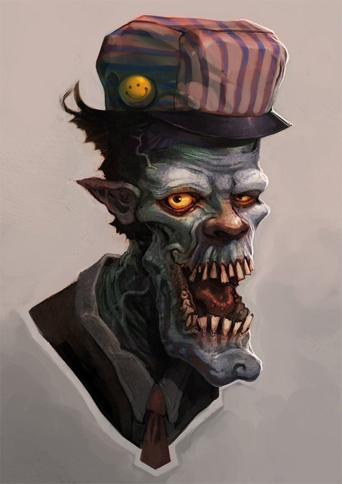 Train conductor zombie halloween artwork illustration