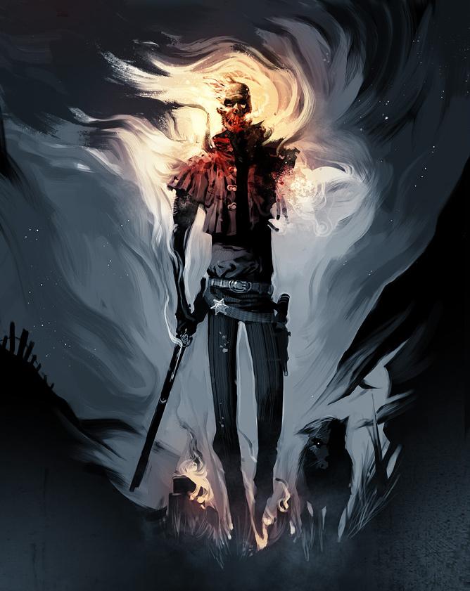 Painting mosaic zombie halloween artwork illustration