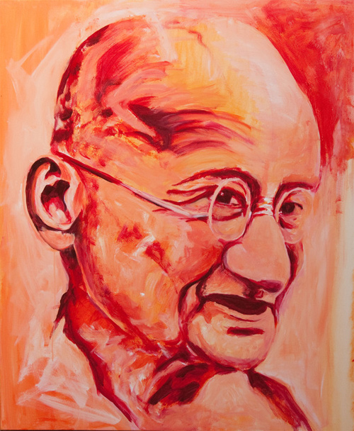 gandhi artwork picture illustration red painting