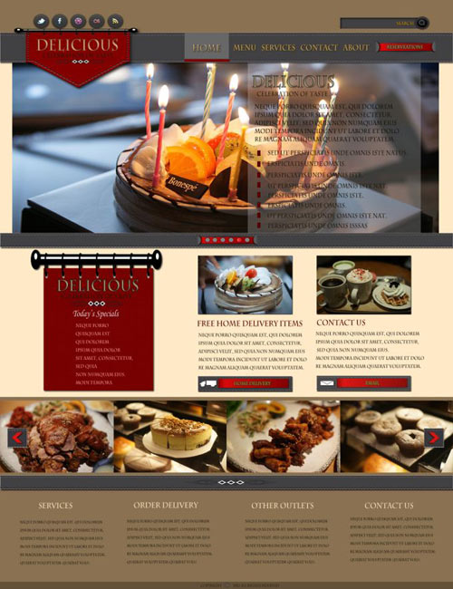 Learn To Make A Restaurant Website Layout in Photoshop