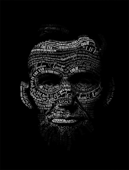 Typography abraham lincoln artwork illustration