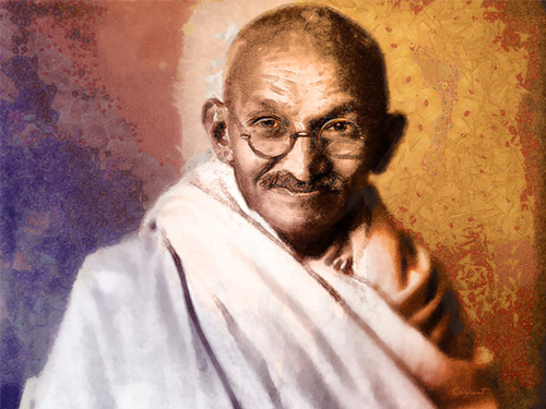 gandhi artwork picture illustration portrait