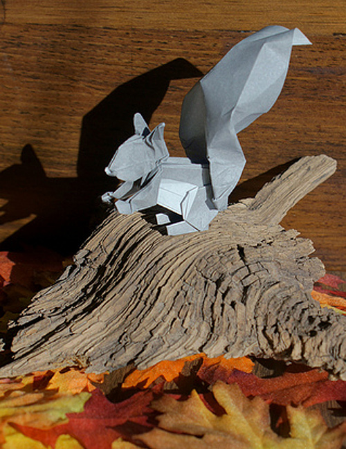 Grey squirrel origami artwork paper design