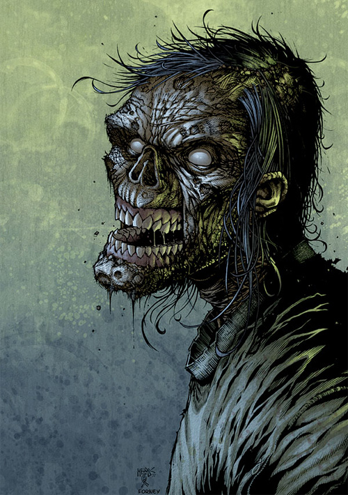 Long hair zombie halloween artwork illustration