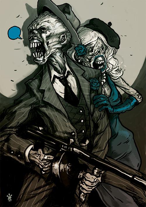 Cartoon zombie halloween artwork illustration