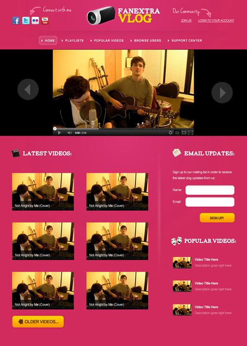 Design a Colorful Vlogging Web Layout