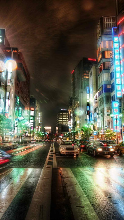 Tokyo HDR iPhone 5 Wallpaper