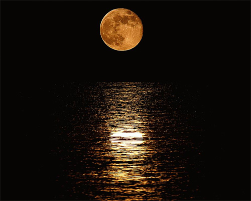 Bright yellow full water reflection cool moon wallpaper