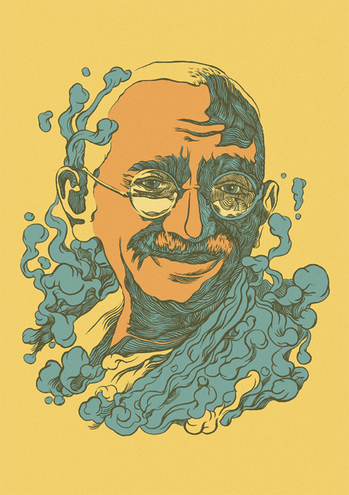gandhi artwork picture illustration graphic design