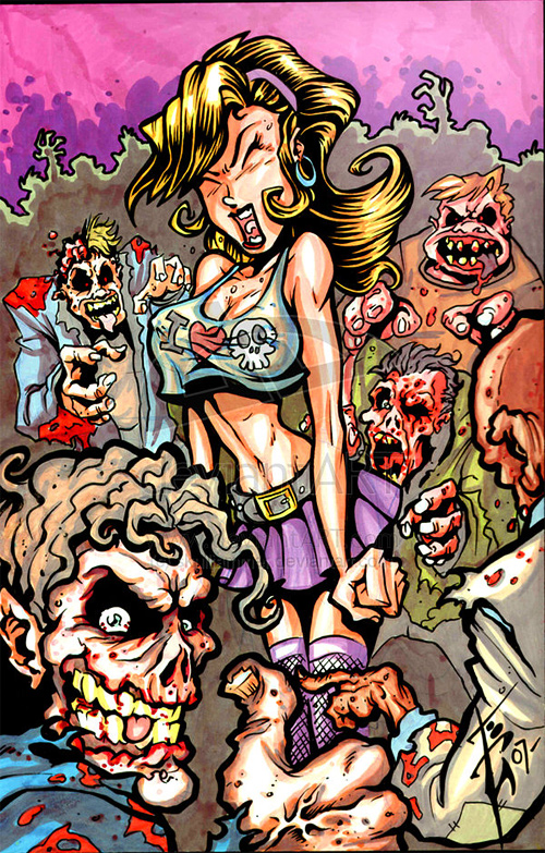 Cartoon zombie halloween artwork illustration