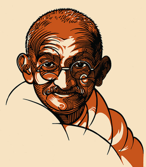 gandhi artwork picture illustration book cover
