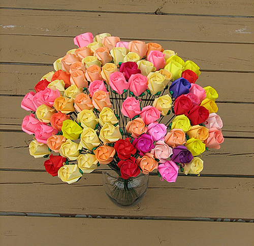 Colourful flower roses origami artwork paper design