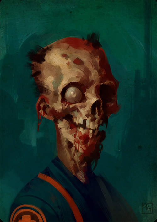 Bald zombie halloween artwork illustration