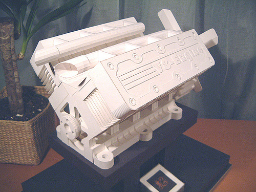 V8 engine origami artwork paper design
