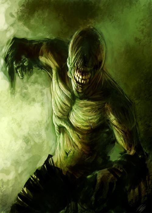 Alien green zombie halloween artwork illustration