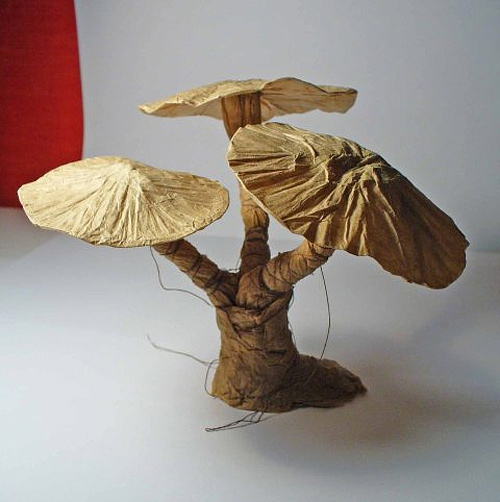Mushroom crumple style origami artwork paper design