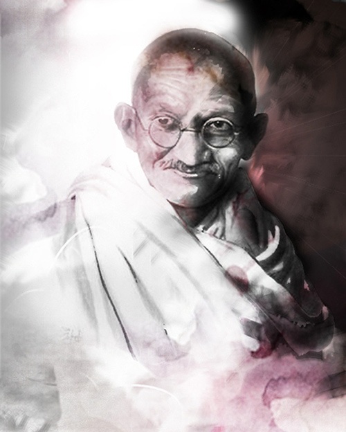 gandhi artwork picture illustration watercolour