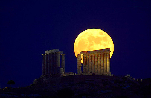 Greecian bright yellow red orange cool moon wallpaper