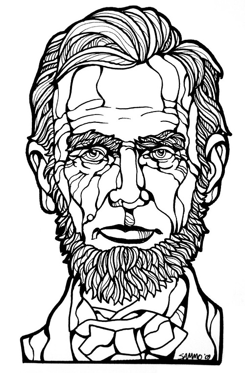 Line art black white abraham lincoln artwork illustration