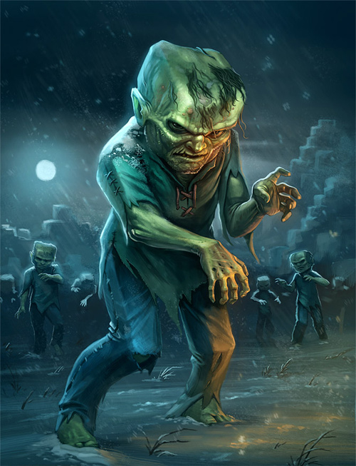 Minecraft zombie halloween artwork illustration