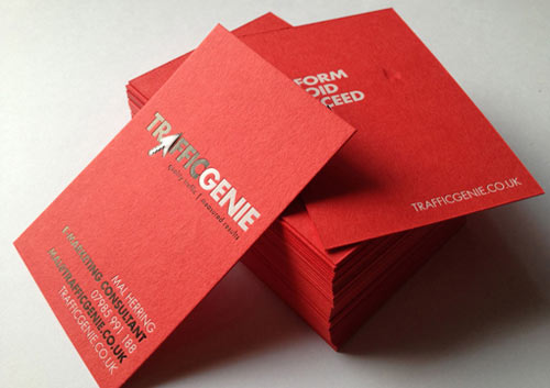 Bright Red Letterpress Business Cards