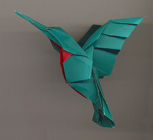Humming bird origami artwork paper design