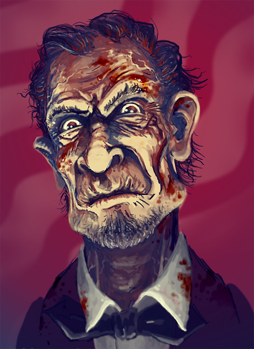 Bloody scary abraham lincoln artwork illustration