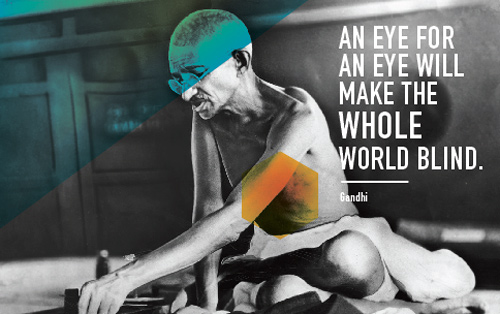 gandhi artwork picture illustration quote eye for an eye