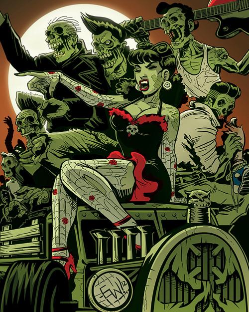 Gang zombie halloween artwork illustration
