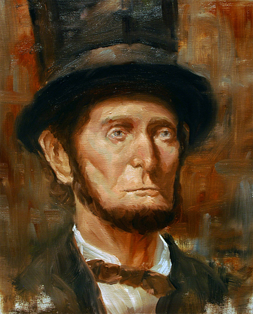 Oil in canvas abraham lincoln artwork illustration