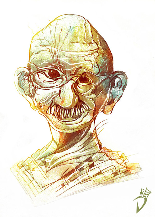 gandhi artwork picture illustration caricature