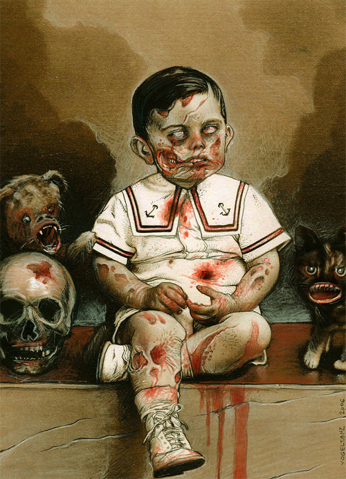 Boy zombie halloween artwork illustration