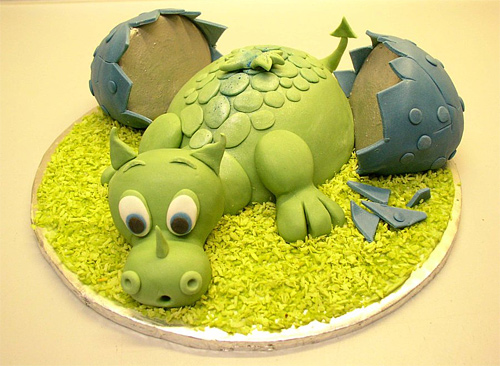 Baby green dragon cute unusual cake design cool