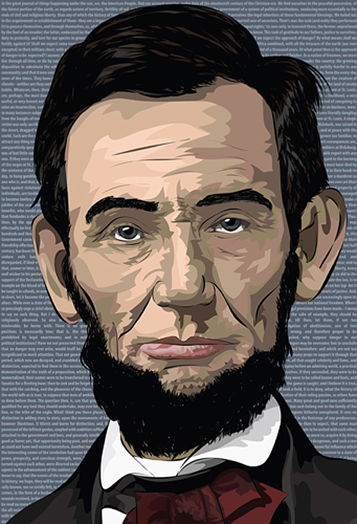 Vector art pop abraham lincoln artwork illustration
