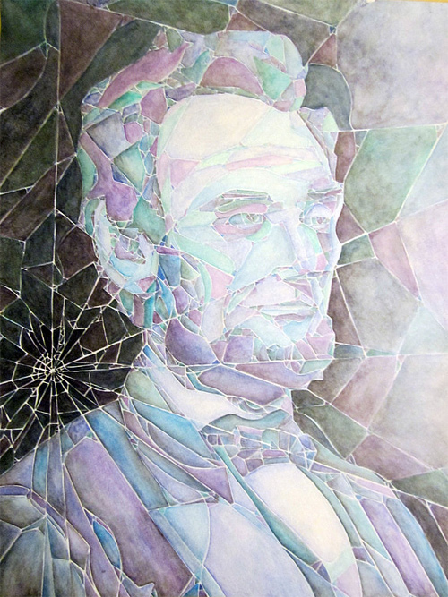 Broken glass watercolour abraham lincoln artwork illustration