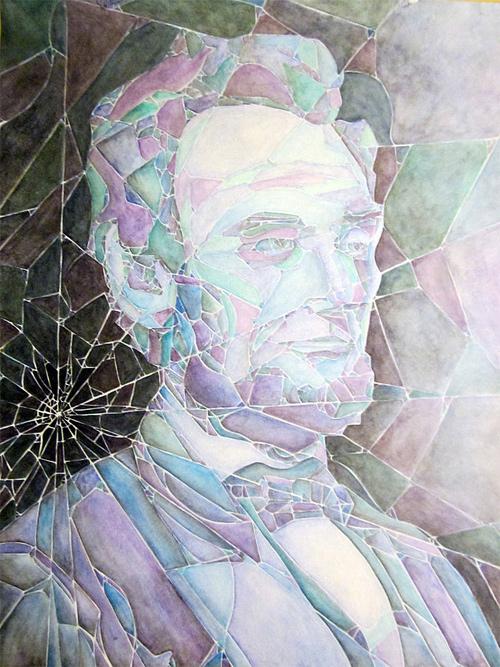 Broken glass watercolour abraham lincoln artwork illustration