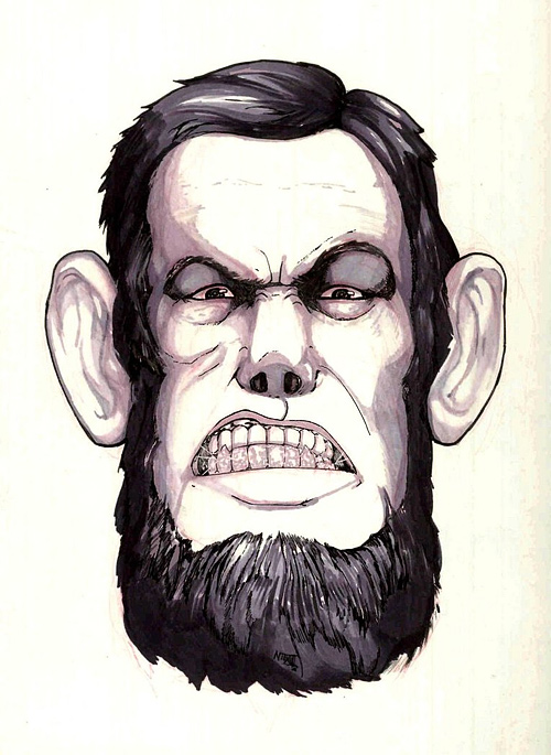 Cartoon caricature abraham lincoln artwork illustration