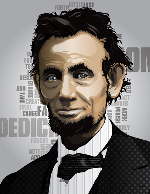 Vector typography art abraham lincoln artwork illustration